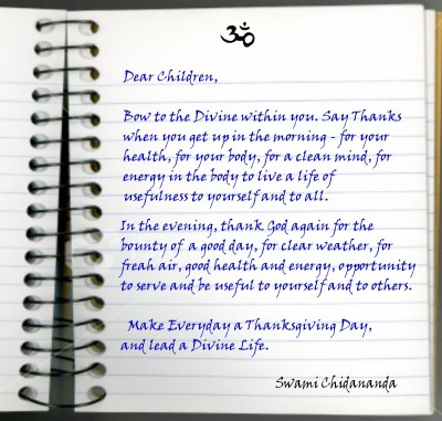 ThanksGiving message of Gurudev Chidananda